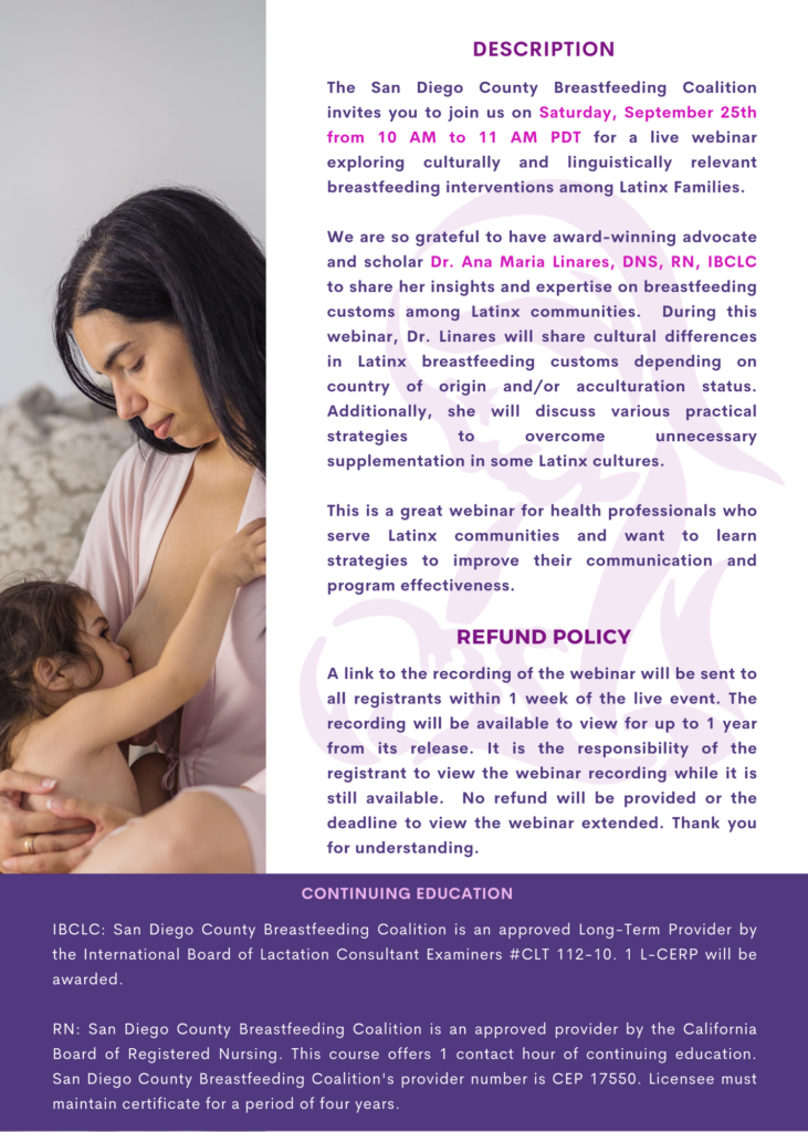September 25, 2021 Las Dos Cosas vs. Exclusive Breastfeeding Implementing A Culturally and Linguistic Intervention In Latinx Mothers with with Ana Maria Linares, DNS, RN, IBCLC (4)